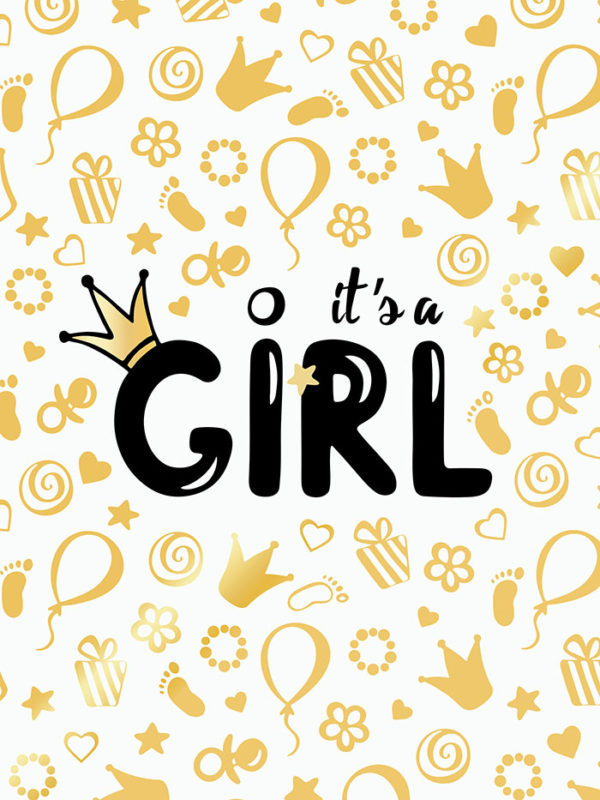 Baby Shower Gold - Girl Tear Resistant Back Drop