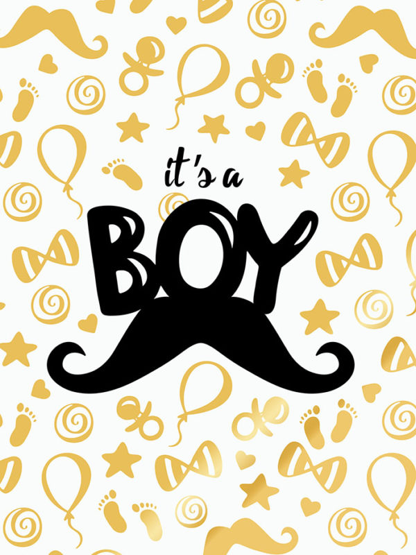 Baby Shower Gold - Moustache Tear Resistant Back Drop