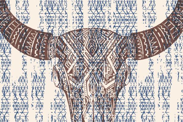 Bull Tattoo Fabric Back Drop