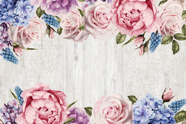 Country Flowers - No wording Fabric Back Drop