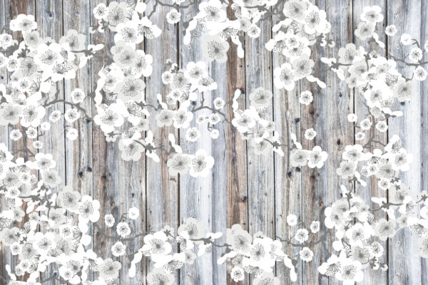 White Paper Flowers - No wording Fabric Back Drop