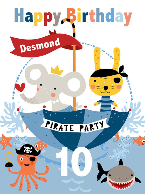 Birthday - Pirates Tear Resistant Back Drop