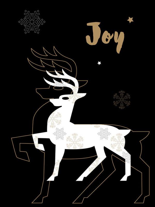 Christmas - Gold Reindeer Tear Resistant Back Drop