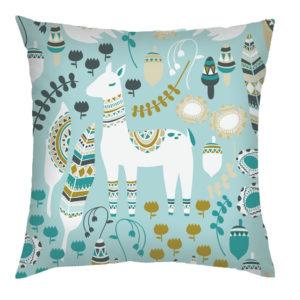 Turquoise Lama Cushion
