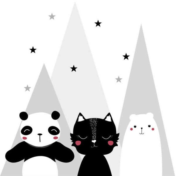 Black and White Animals Wall Graphic