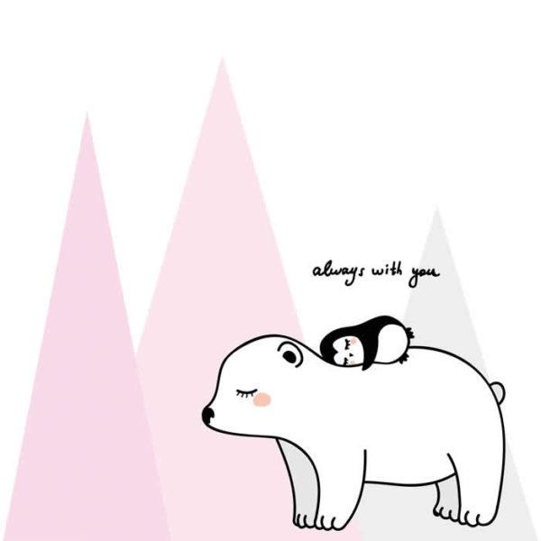 Panda and Bear love Wall Graphic
